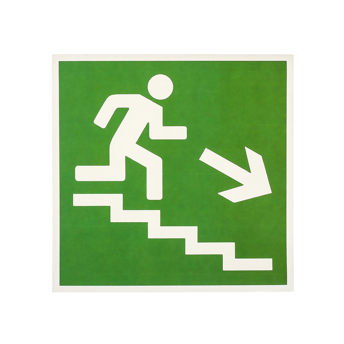 """Наклейка """"Направление к эвакуационному выходу по лестнице вниз"""", 18*18 см, цвет зелёный"""