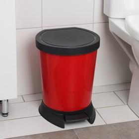 Ведро для мусора с педалью 10 л, цвет красный