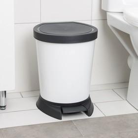 Ведро для мусора с педалью, 10 л, цвет белый