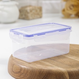Контейнер для пищевых продуктов с зажимом прямоугольный 0,65 л, цвет прозрачный
