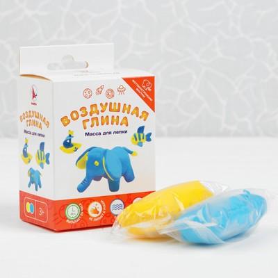 """Воздушная глина """"Слон"""" 2 цвета, 80 мл, жёлтый, голубой"""