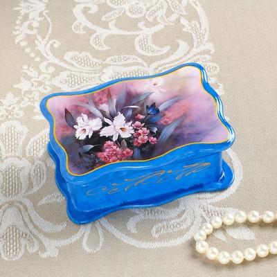 Шкатулка «Нежность», синяя, 8×11,5 см, лаковая миниатюра
