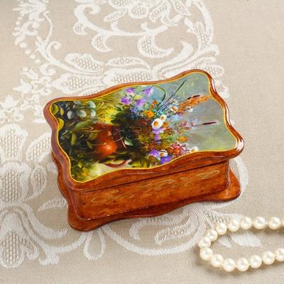 Шкатулка «Полевые цветы в горшке», коричневая, 8×11,5 см, лаковая миниатюра