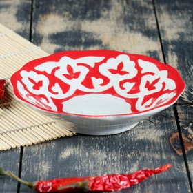 Тарелка 130 код 1002 Пахта красная 13см