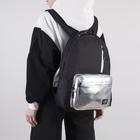 Рюкзак молодёжный, отдел на молнии, 3 наружных кармана, цвет чёрный/серебро
