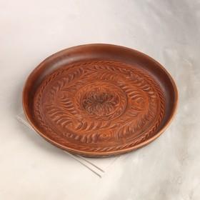 """Блюдо для подачи """"Круглое"""", красная глина, 34 см, микс"""