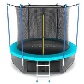 Батут EVO JUMP Internal 8 ft, d=244 см, с внутренней сеткой, нижней сеткой и лестницей, морская волна Ош