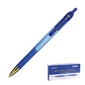 Ручка шариковая автоматическая MunHwa MC Gold Click, узел 0.7 мм, чернила синие, резиновый грип