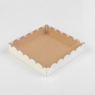 Коробочка для печенья с PVC крышкой, крафт, 15 х 15 х 3 см