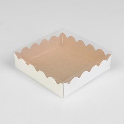 Коробочка для печенья с PVC крышкой, крафт, 12 х 12 х 3 см