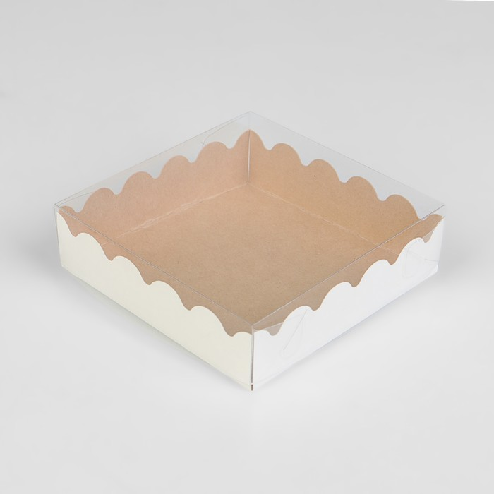Коробочка для печенья, крафт, 12 х 12 х 3 см