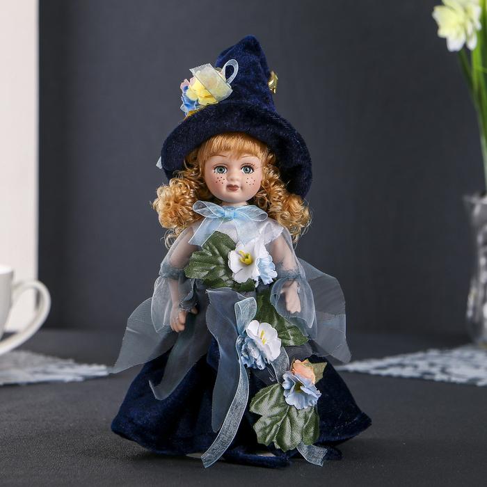 """Кукла керамика коллекционная """"Флора в синем платье"""" 24 см"""