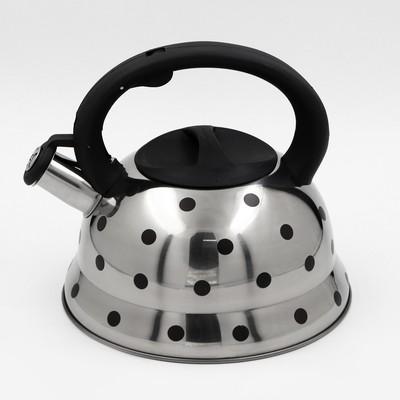 """Чайник со свистком 2,8 л """"Горошек"""", меняет цвет при нагреве - Фото 1"""