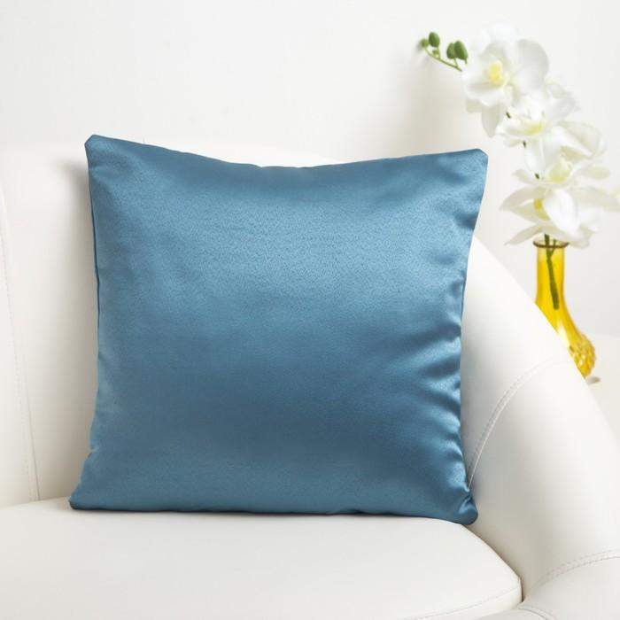 Декоративная подушка «Этель» 40×40 см, Дамаск TEAL SOLID