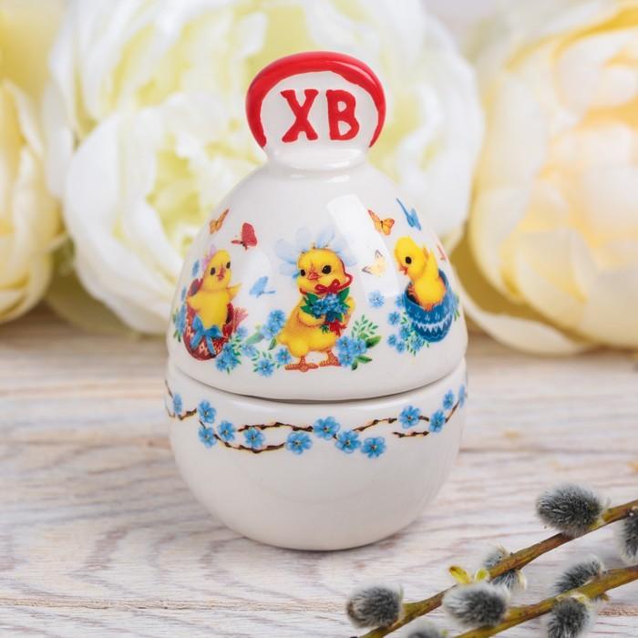 Шкатулка-яйцо Цыплята