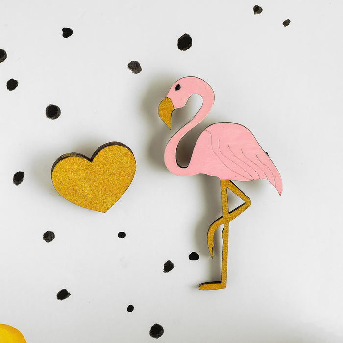 """Набор брошей, ручная работа """"Фламинго с сердцем"""""""