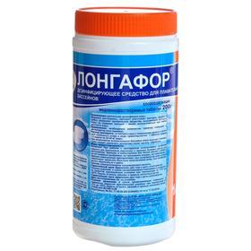 """Дезинфицирующее средство  """"Лонгафор""""  таблетки 200 г, для воды в бассейне,  банка, 1 кг"""