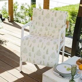 Подушка на уличное кресло «Этель» Листья 50×100+2 см, репс с пропиткой ВМГО, 100% хлопок Ош