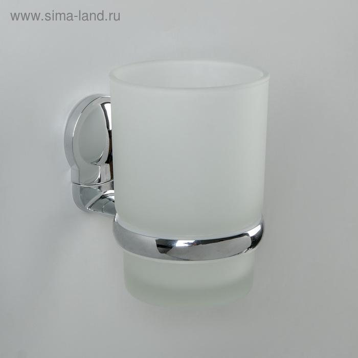 Держатель для зубных щёток, настенный Accoona A11803, 1 стакан, стекло, цвет хром