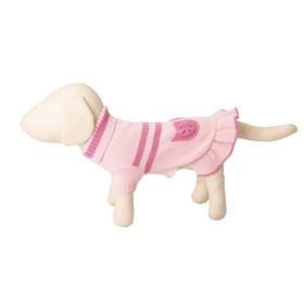 Платье вязаное с высоким горлом, ДС 30 см, розовое Ош
