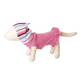 Платье вязаное с полосатым капюшоном, ДС 30 см, розовое Ош