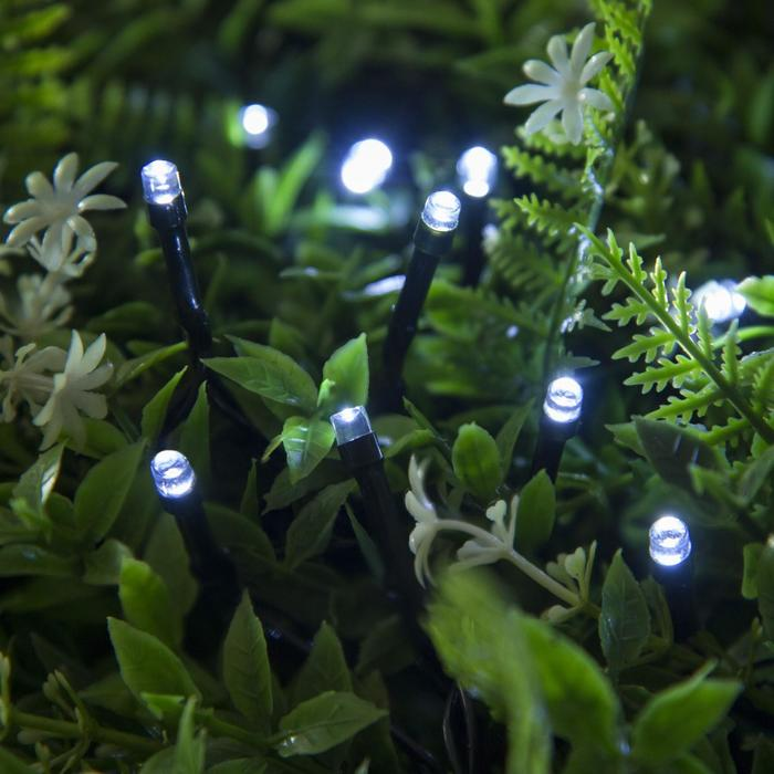 """Гирлянда """"Нить"""" 20 м, тёмная нить, 200 LED, свечение белое, 2 режима, солнечная батарея"""