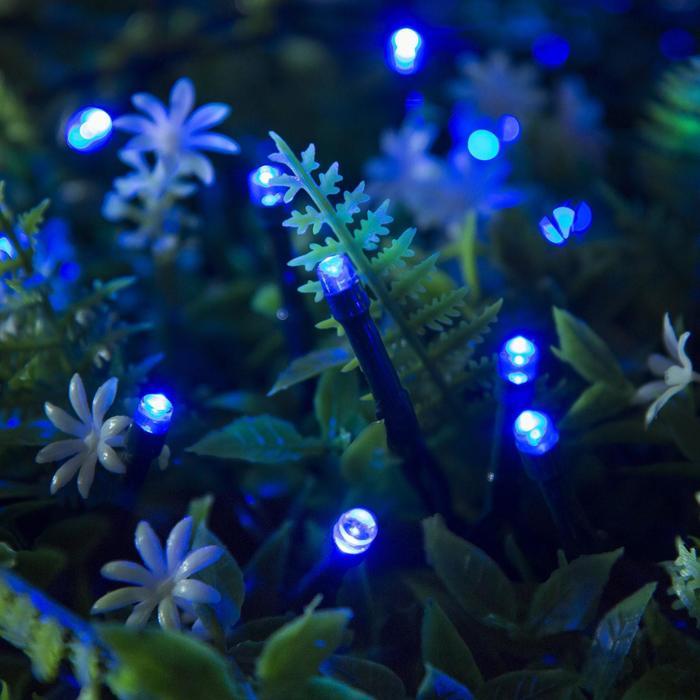 """Гирлянда """"Нить"""" 20 м, тёмная нить, 200 LED, свечение синее, 2 режима, солнечная батарея"""