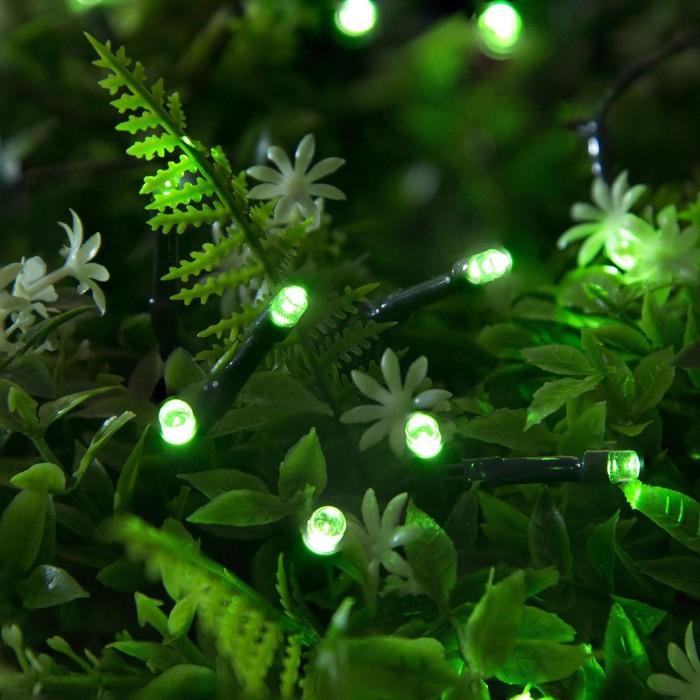 """Гирлянда """"Нить"""" 20 м, тёмная нить, 200 LED, свечение зелёное, 2 режима, солнечная батарея"""