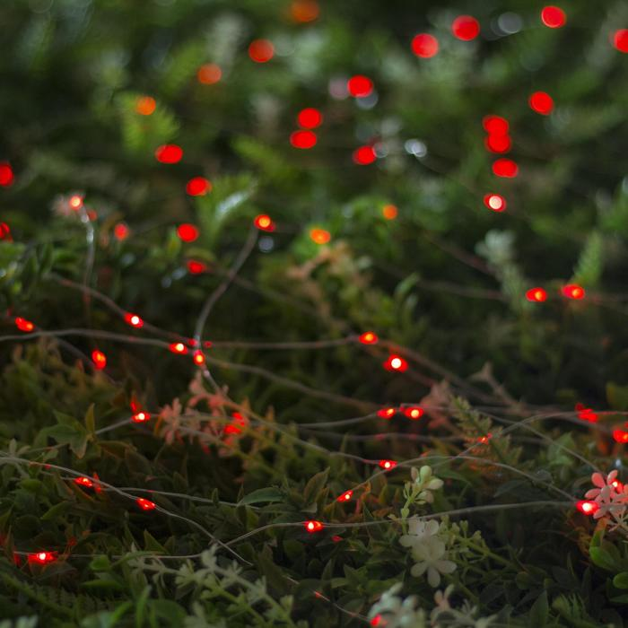 """Гирлянда """"Нить"""" 10 м роса, серебристая нить, 100 LED, свечение красное, 2 режима, солнечная батарея"""