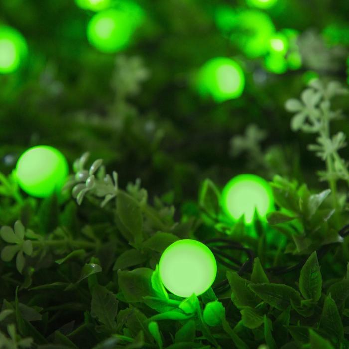 """Гирлянда """"Нить"""" 4.5 м с насадками """"Шарики"""", IP44, тёмная нить, 30 LED, свечение зелёное, 2 режима, солнечная батарея"""