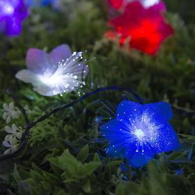 """Гирлянда """"Нить"""", уличная на солнечной батарее с насадками """"Цветок"""", 4,5 м, Н.Т. LED-30, свечение мульти (RG/RB)"""