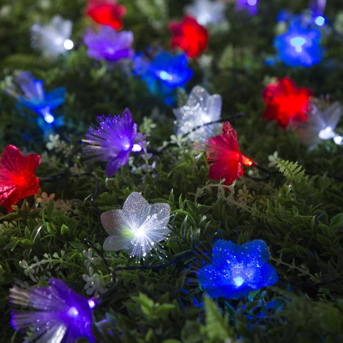 """Гирлянда """"Нить"""" 4.5 м с насадками """"Цветы"""", тёмная нить, 30 LED, свечение RG/RB, 2 режима, солнечная батарея"""