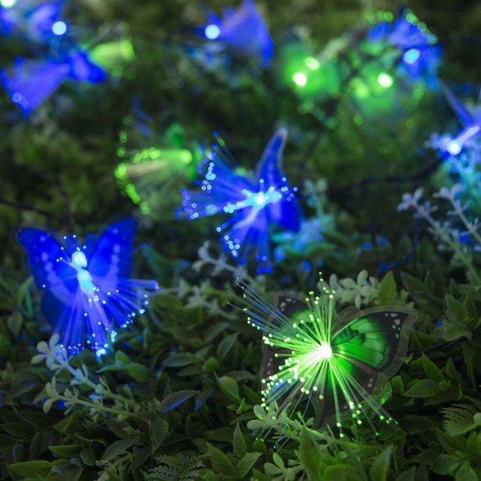 """Гирлянда """"Нить"""" 4.5 м с насадками """"Бабочки"""", тёмная нить, 30 LED, свечение RG/RB, 2 режима, солнечная батарея"""