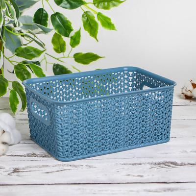 Корзина для хранения «Вязь», 3 л, 23,5×17,3×10,5 см, цвет голубая норка