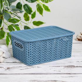Корзина для хранения с крышкой Виолет «Вязь», 3 л, 23,5×17,3×10,5 см, цвет голубая норка