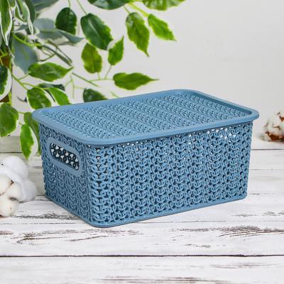 Корзина для хранения с крышкой «Вязь», 3 л, 23,5×17,3×10,5 см, цвет голубая норка