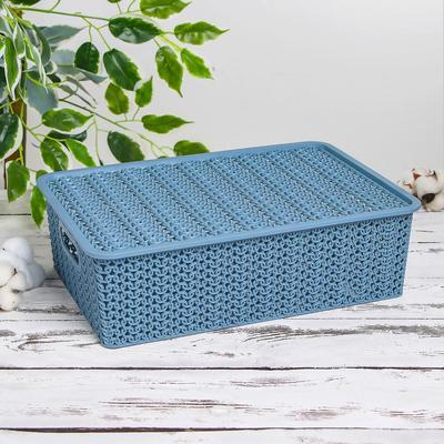 Корзина для хранения с крышкой «Вязь», 7,5 л, 35×24,5×10,5 см, цвет голубая норка