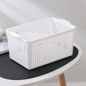 Корзина для хранения Виолет«Лофт», 5,3 л, 29,5×18,5×14,5 см, цвет белый