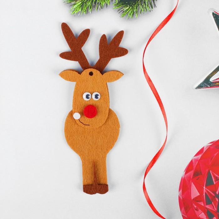 Набор для творчества - создай ёлочное украшение из фетра «Олень с красным носом»