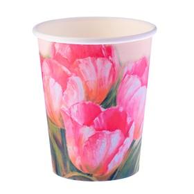 Стакан бумажный 'Тюльпаны' 250 мл, верхний диаметр 80 мм Ош