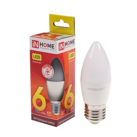 Лампа светодиодная IN HOME LED-СВЕЧА-VC, Е27, 6 Вт, 230 В, 3000 К, 540 Лм