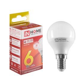 Лампа светодиодная IN HOME, G45, 6 Вт, Е14, 540 Лм, 3000 К, теплый белый