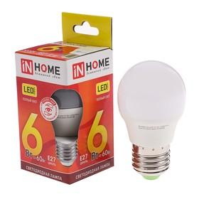 Лампа светодиодная IN HOME LED-ШАР-VC, Е27, 6 Вт, 230 В, 3000 К, 480-540 Лм