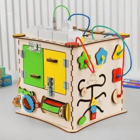 Бизикуб «Развивающий куб» с электрикой 25×25 см