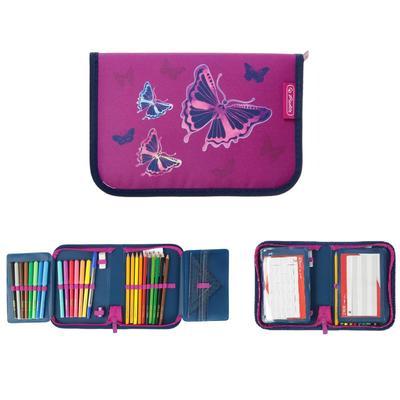Пенал 1 секция откидные 2 планки, 140 х 205, с наполнением 31 предмет, ткань, Herlitz Glitter Butterfly