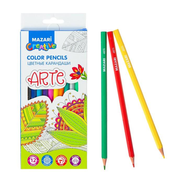 Карандаши 12 цветов Arte, шестигранный корпус, d грифеля=2.6 мм, пластиковые