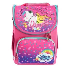 Ранец Стандарт Smart PG-11, 34 х 26 х 14 см, для девочки, Unicorn, розовый