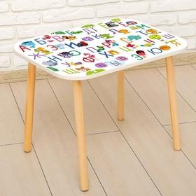 Стол с деревянными ножками «Алфавит с животными», цвет белый Ош