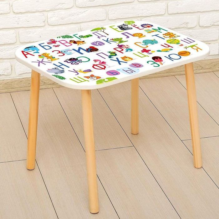Стол с деревянными ножками «Алфавит с животными», цвет ...