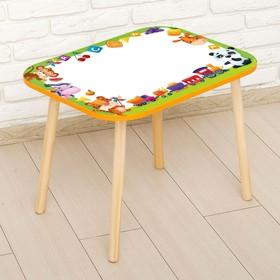 Стол с деревянными ножками «Весёлые зверята», цвет оранжевый Ош